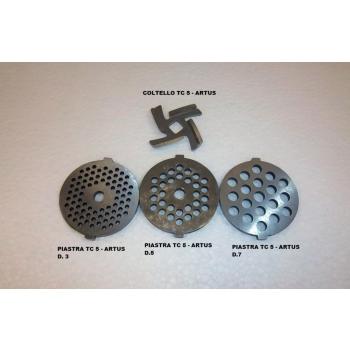 Set Completo di 3 Piastre, e Coltello in acciaio per Tritacarne Artus T30