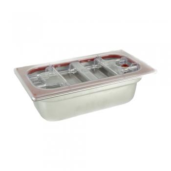 Vasca Inox H 150 1/3 Gastronorm e coperchio policarbonato