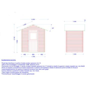 Casetta in Legno Cm. 180x130 ad incastro Mod. Besagno