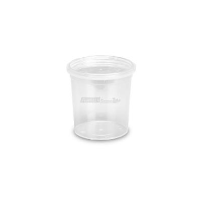 Barattoli in plastica MU150 lt. 0,155 conici trasparenti con coperchi