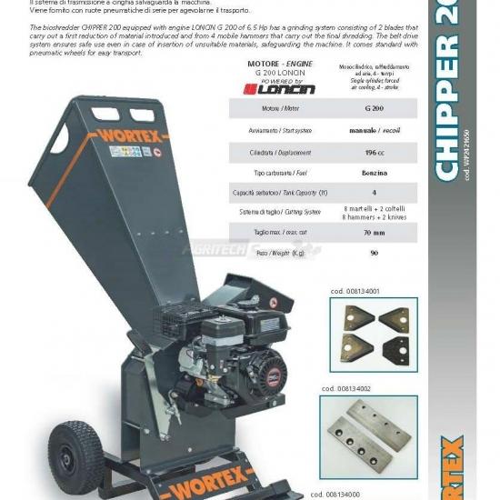 Biotrituratore Cippatore Chipper T 200 L