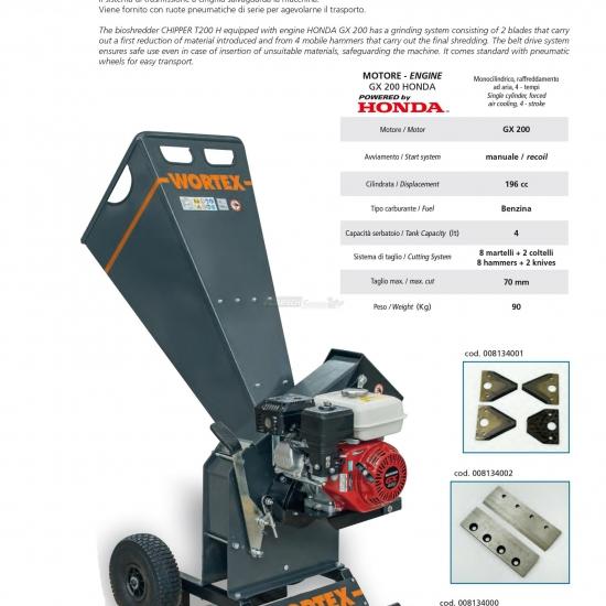 Biotrituratore Cippatore Chipper T 200 H Motore Honda