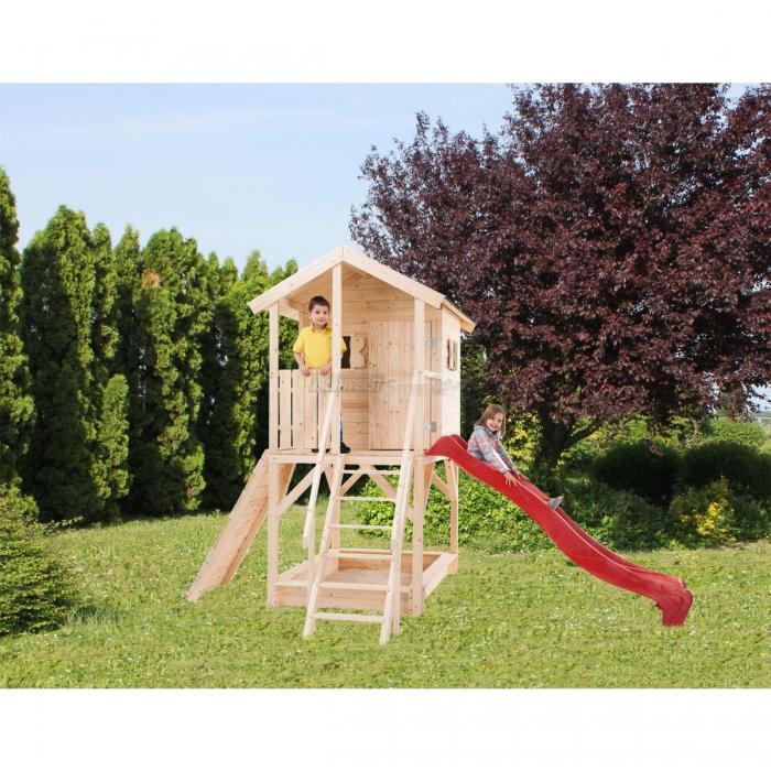 """Casetta con scivolo per bambini in abete naturale """"Pinzolo"""" cm 382x257"""