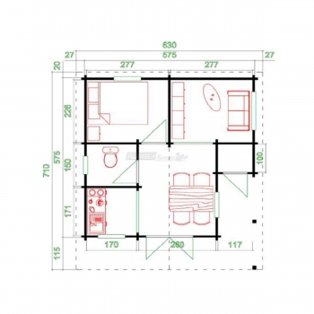 "Cottage ""Cortina d'Ampezzo"" cm 575x575"