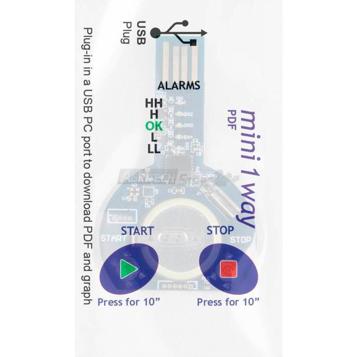 Data Logger MINI 1 WAY mono viaggio con soglie di allarme fisse