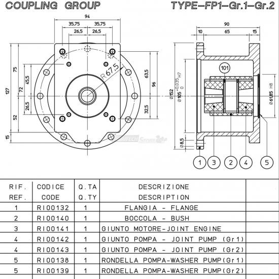Flangia Per Motore Albero Conico Cono 23 Gr 1 2