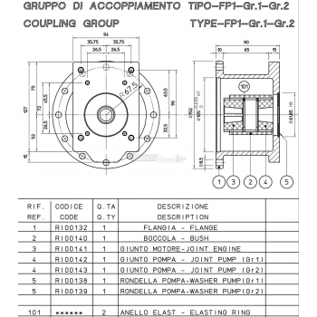"""Flangia per Motore Albero CONICO """"Cono 23"""" GR. 1-2"""