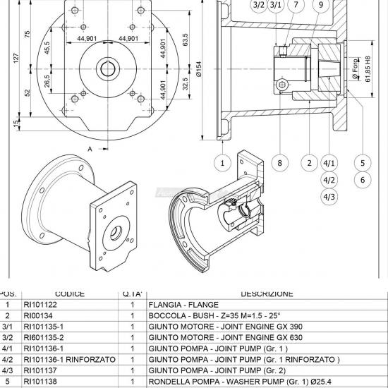 Flangia Per Motore Albero Ø 2540 Gr 1 2