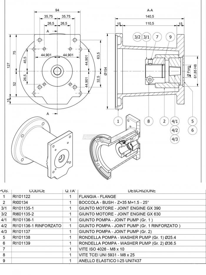 Flangia per Motore Albero Ø 25,40 GR. 1-2