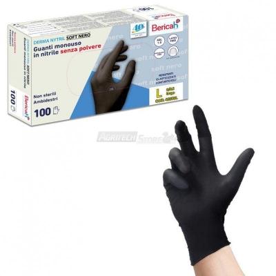 Guanto In Nitrile monouso senza polvere Derma Nytril Soft Nero 100 pz.