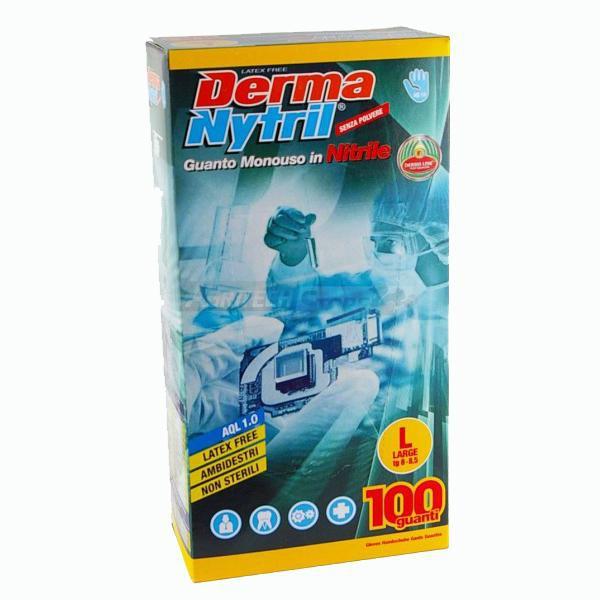 Guanto In Nitrile monouso senza polvere Derma Nytril 100 pz. colore Azzurro