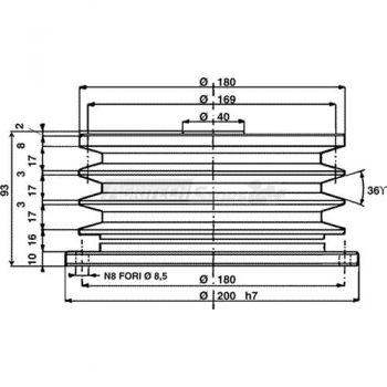 Puleggia a frizione centrifuga automatica Ø 190 mm