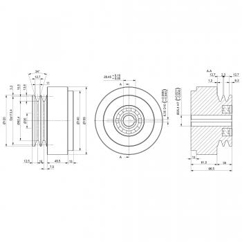 Puleggia a frizione centrifuga Ø 160 mm. N 2 Gole A