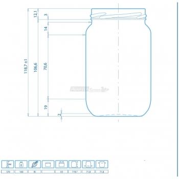 Vaso Vetro per Alimentari gr. 370 chiusura TO 63 mm